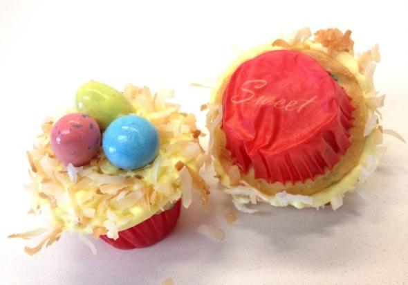 bird's nest baby cupcakes